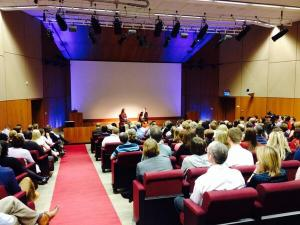 When the room was full. That tiny dot at the very front on the left, is me!