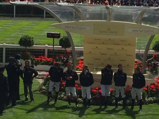 A selection of Jockeys before the racing started