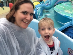 My son and I on a water ride